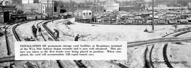 The CTA Transit News included many rare photos of Congress rapid transit line construction. This picture was taken around January 1958 at the DesPlaines terminal and looks to the northeast. While most of the Congress line went into service in June 1958, the portion west of the Lotus tunnel was not finished until 1961. Work in the terminal area continued into 1962.